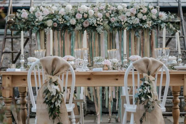 A photograph of a wedding reception, styled by Wedding Flowers in Cornwall. Your wedding style