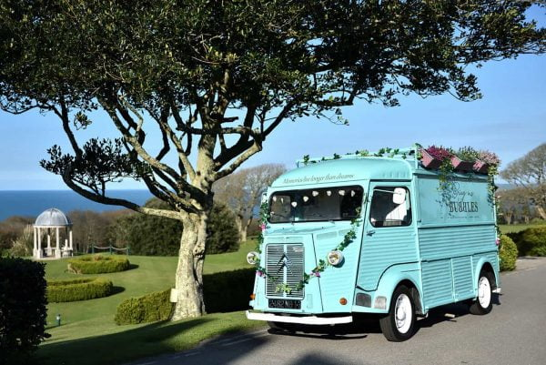 A photograph of the Bring Me Bubbles mobiles cocktail bar available for weddings in Cornwall and Devon