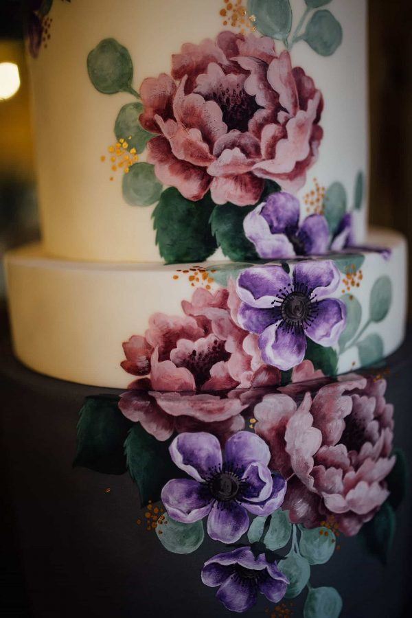 Beautiful hand painted wedding cake by Emily Hankins Cakes as featured on eeek! weddings