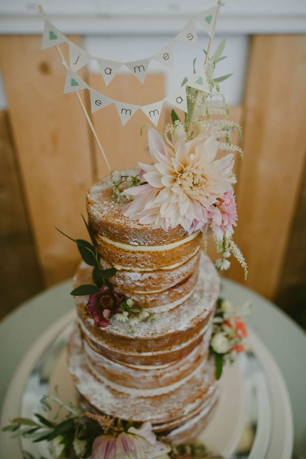 Naked wedding cake by Sweet Thought Cakes as featured on eeek! weddings