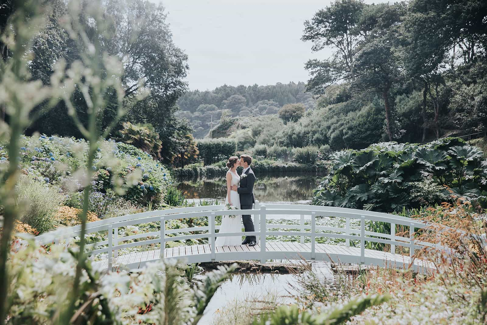 A photograph of Katie and Rob at their Cornish wedding at Trebah Gardens featured on eeek! weddings by Kirstin Prisk Photography