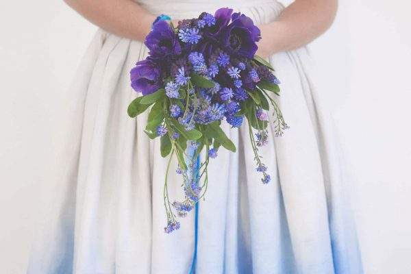 A unique vintage dip dye wedding dress by wedding dress designer Anna D'Souza as featured on eeek! Weddings