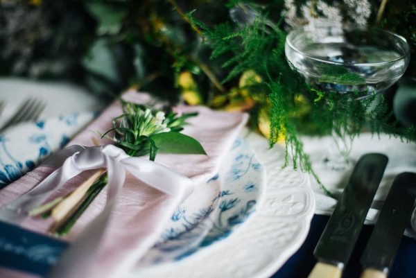 A photograph of the gorgeous place setting by box cox cornwall wedding eeek!