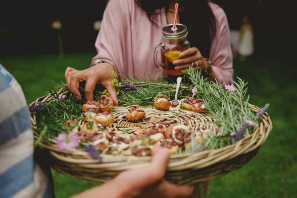 Canapes being served in a basket by Fee Turner Catering as featured on eeek! weddings