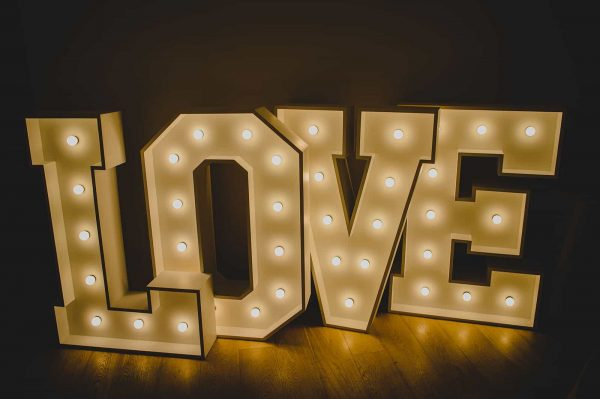 South West Letter Lights a truly personal touch to your wedding venue by adding your initials in Letter Lights.