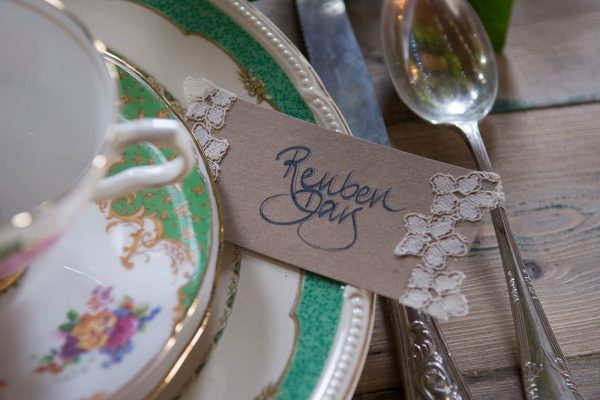 A photograph of a vintage cup and saucer wedding styling expertise by Meadow Sweet Vintage
