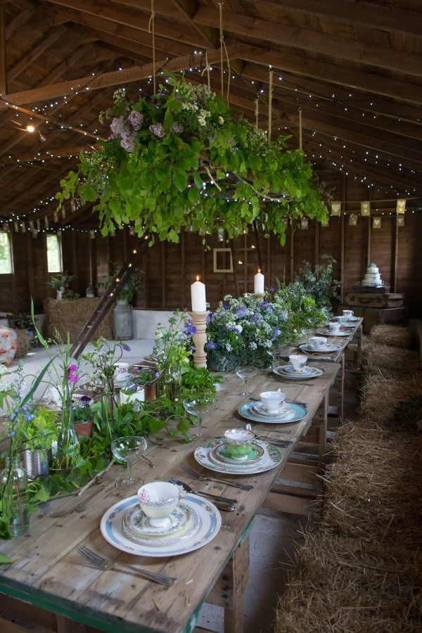 "A photograph of the rustic wedding venue ""The Cow Shed"" in Cornwall, as featured on eeek! Weddings."