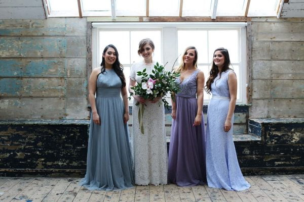 bride and bridesmaids in beutiful gowns from The Bridal Room St Ives as featured on eeek! weddings