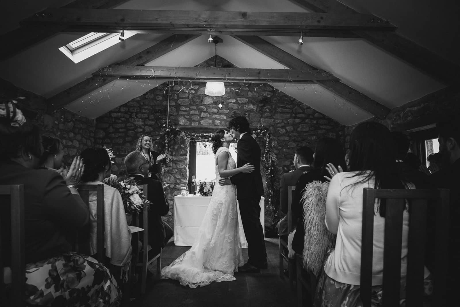 Wedding ceremony at Knightor Winery vineyard wedding venue in Cornwall, as featured on eeek! weddings
