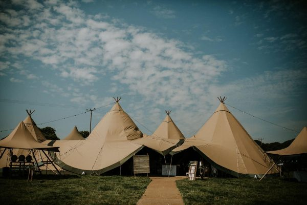 A photograph of the beautiful tipi tent for a wedding in Cornwall at eeek!