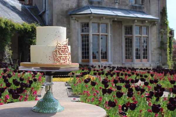 A photograph of a beautiful Peboryon two tier wedding cake