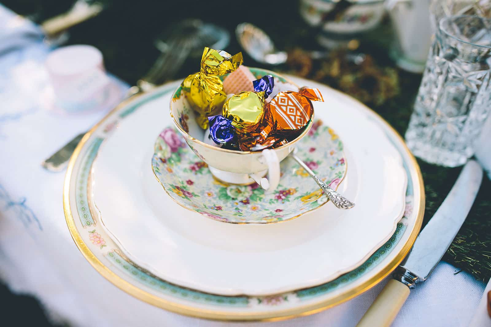 A photograph of miss match vintage china, beautiful vintage items
