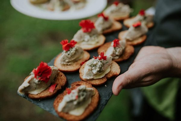 A photograph of delicious wedding canapes for a wedding feast