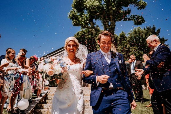 Confetti shot Tredudwell Manor Weddings Dan Ward Photography