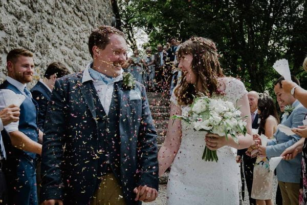 Happily married at Knightor confetti shot photography Alexa Poppe Wedding Photography