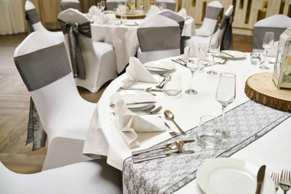 Waterside Wedding Venue Cornwall Reception Tables looking beautiful for a wedding