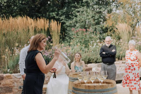 Wedding day wine tasting at Brickhouse Vineyard
