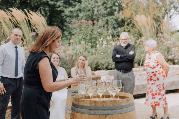 Wedding day wine tasting at Brickhouse Vineyard